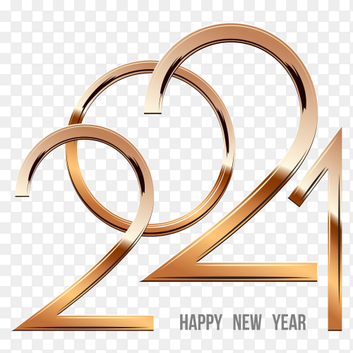 Happy new year 2021 with gold numbers shining light with sparkles on transparent background PNG