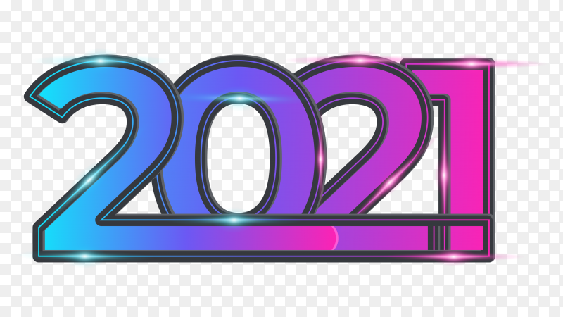 Happy new year 2021 with loading bar neon light color on transparent background PNG