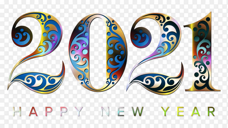 Happy new year 2021 with luxury colorful number on transparent PNG