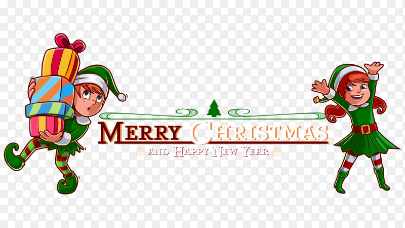 Happy new year and merry christmas poster template on transparent PNG