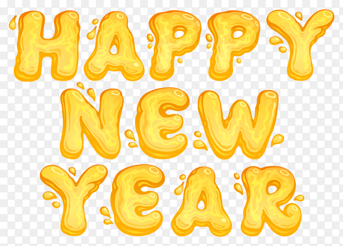 Happy new year lettering with yellow color premium vector PNG