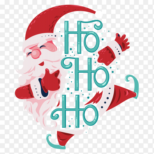 Happy santa claus jump and smiling say ho ho ho with lettering on transparent background PNG