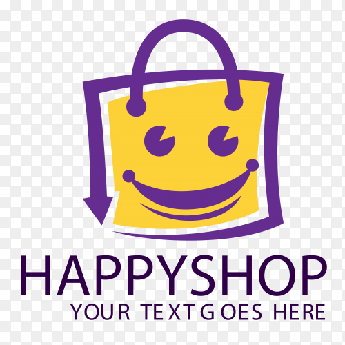 Happy shopping logo template on transparent backgrund PNG