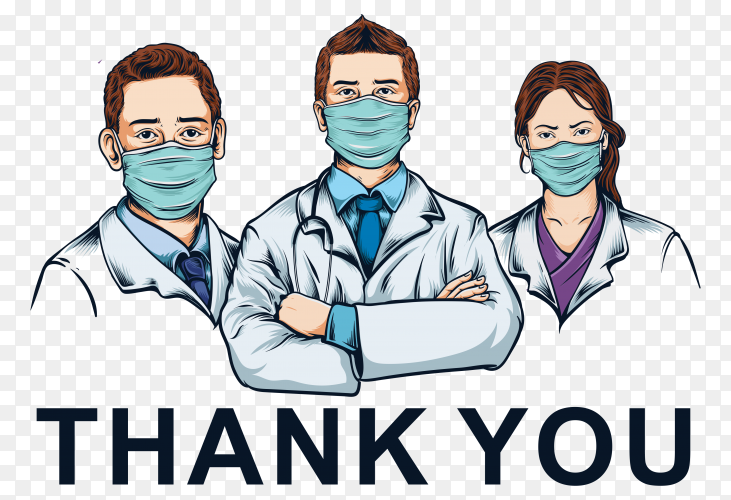 Health professional team using medical mask illustration on transparent background PNG