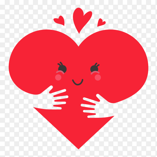 Heart love concept on transparent background PNG