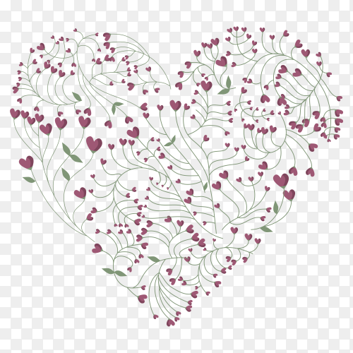 Heart made from flowers Illustration on transparent background PNG