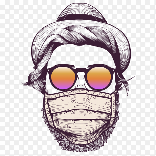 Hipster with hat and wearing protective face mask on transparent background PNG