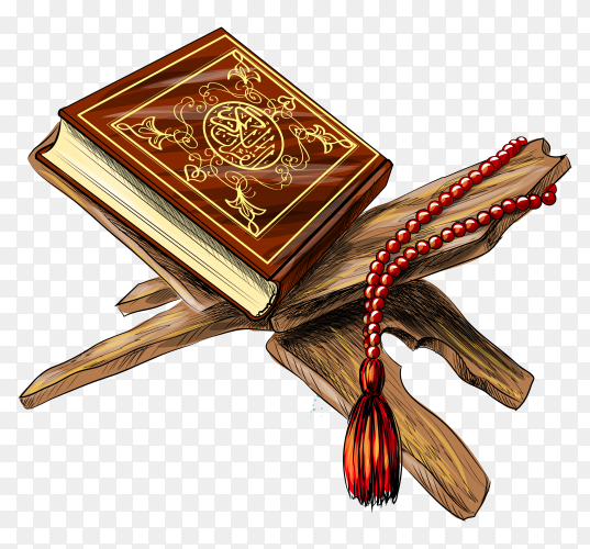 Holy book koran with rosary on transparent background PNG