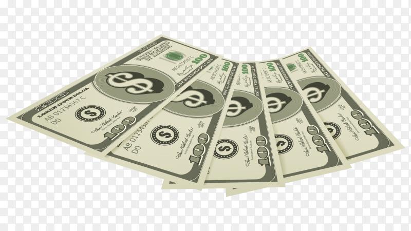 Hundred dollars bills on transparent PNG