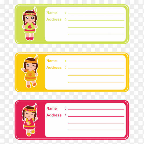 Illustration Name tags for school children design on transparent background PNG