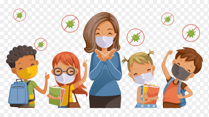 Illustration of Children back to school and wearing sanitary masks on transparent background PNG