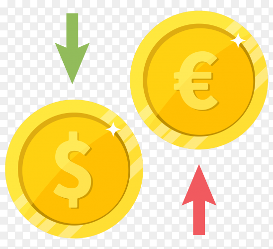 Illustration of Currency exchange dollar euro on transparent background PNG