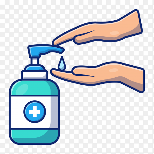 Illustration of Washing hand with disinfectant premium vector PNG