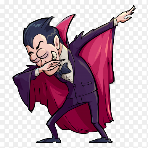 Illustration of a funny vampire doing the dab move on transparent PNG