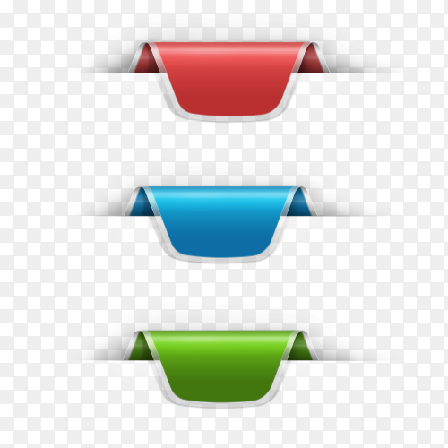Illustration of banners design in different colors on transparent background PNG
