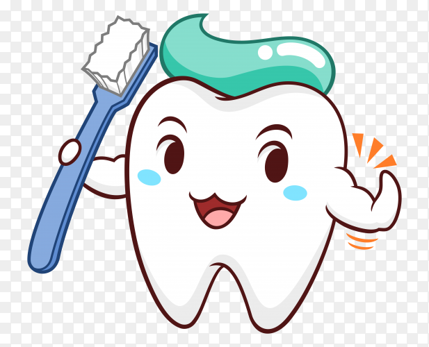 Illustration of cartoon tooth holding toothbrush on transparent background PNG
