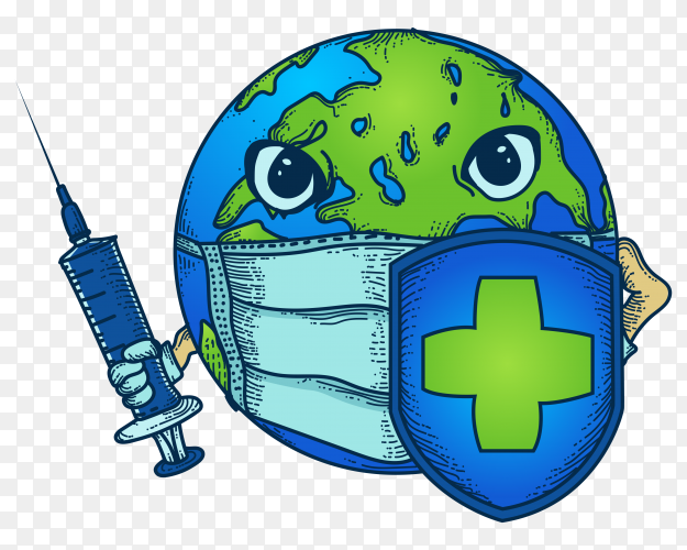Illustration of earth with masks, injections and shields to fight viruses on transparent PNG