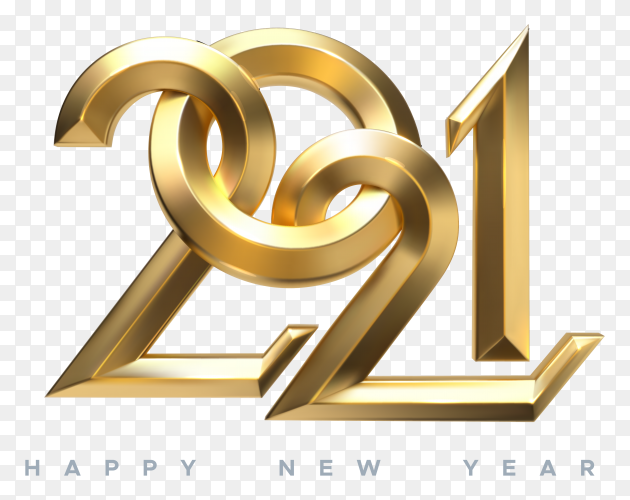 Illustration of golden metallic numbers for 2021 year design on transparent background PNG