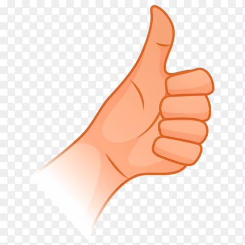 Illustration of human hand thumbs up gesture on transparent background PNG