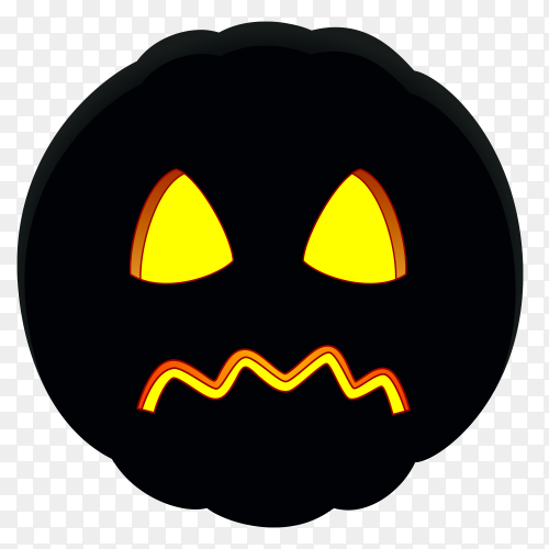 Illustration of sad halloween pumpkin face on transparent background PNG