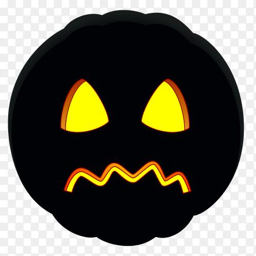 Illustration of sad halloween pumpkin face on transparent background PNG
