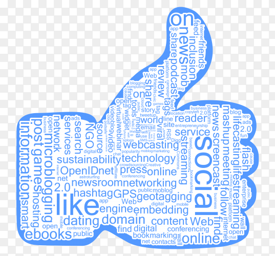 Illustration social media like icon on transparent PNG