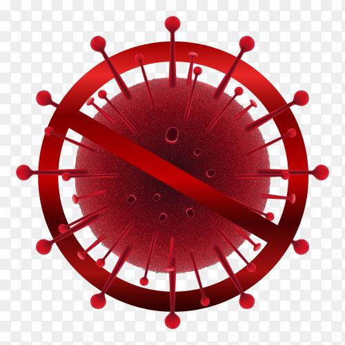Illustrations of  coronavirus sign on transparent background PNG