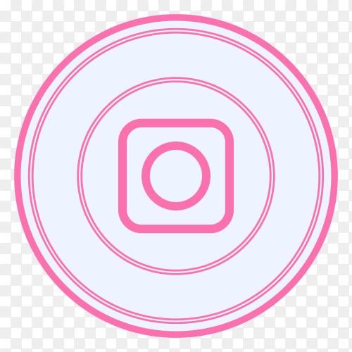Instagram icon with pink color on transparent background PNG