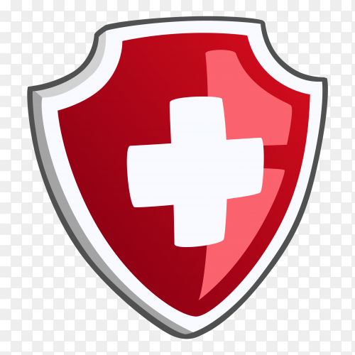 Isolated medical shield protection symbol with cross on transparent background PNG