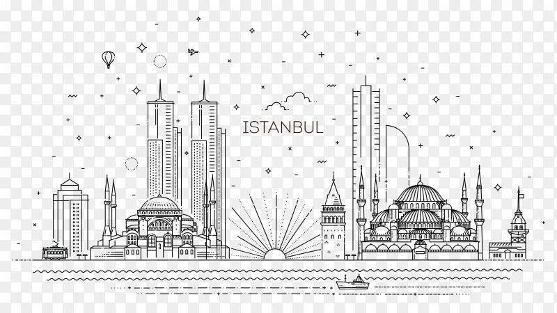 Istanbul Skyline Illustration on transparent background PNG