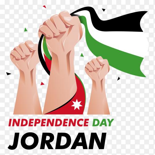 Jordan independence day illustration on transparent background PNG