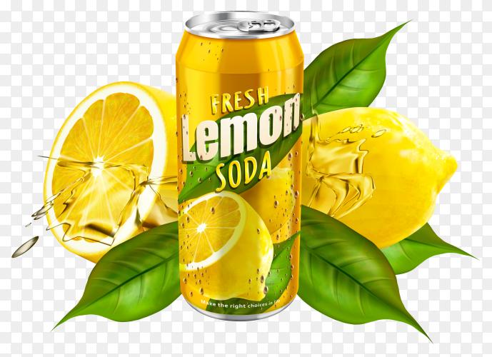 Lemon soda can on transparent background PNG