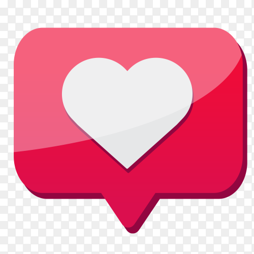 Like love icon with pink color on transparent background PNG