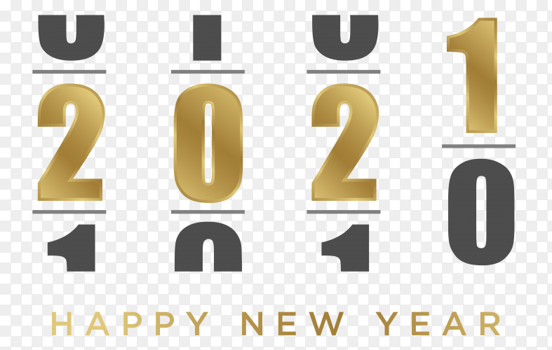 Loading happy new 2021 year on transparent background PNG