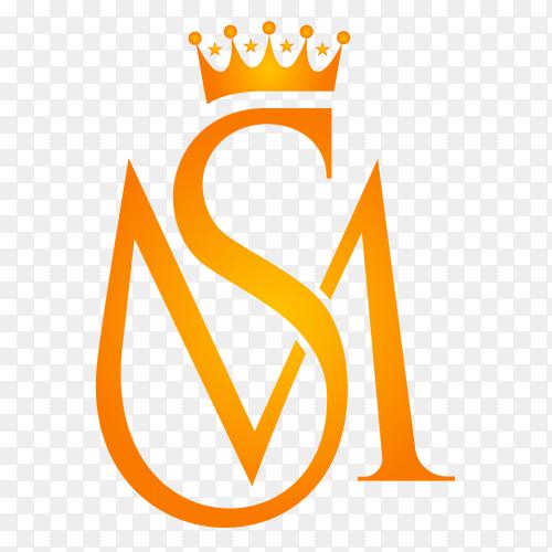 Luxurious Golden Crown SM logo design on transparent PNG