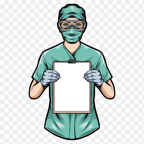 Medical nurse holding clipboard on transparent background PNG