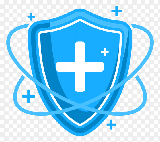 Medical protection healthcare shield with cross sign on transparent background PNG