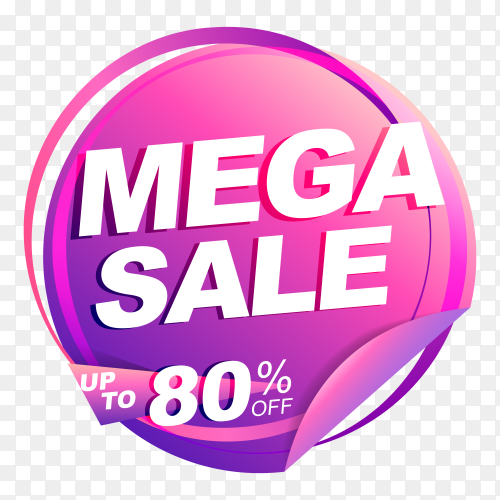 Mega sale banner with discount tag price on transparent background PNG