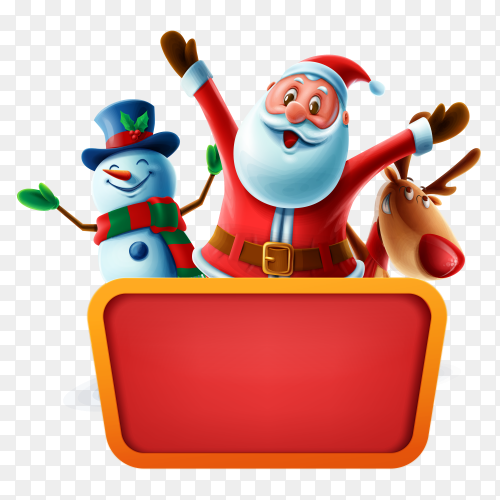 Merry Christmas card with santa claus and  animals character with big sign board on transparent background PNG