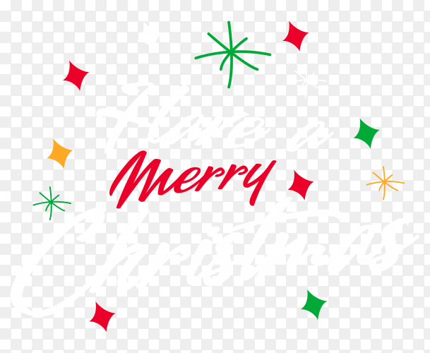 Merry christmas  hand drawn on transparent background PNG