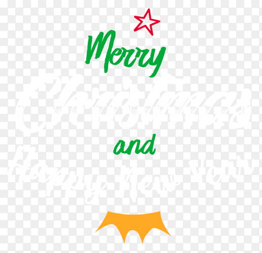 Merry christmas and happu new year on transparent background PNG