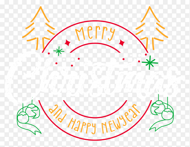 Merry christmas and happy new year banner design on transparent background PNG