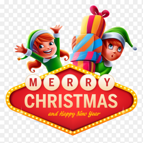 Merry christmas and happy new year banner on transparent PNG