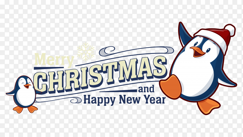 Merry christmas and happy new year card with penguin on transparent background PNG