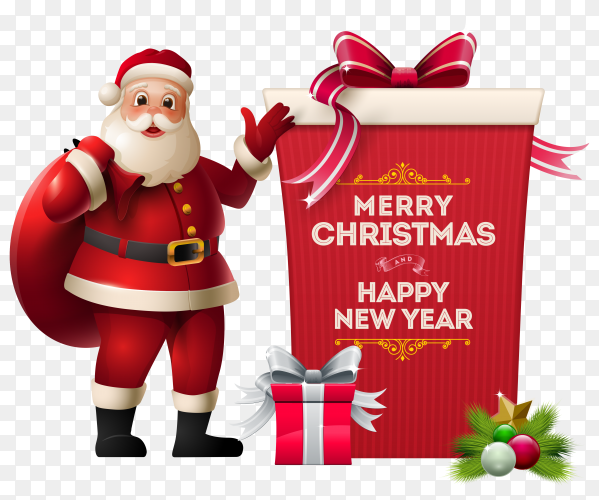 Merry christmas card with Santa Claus and gifts on transparent PNG