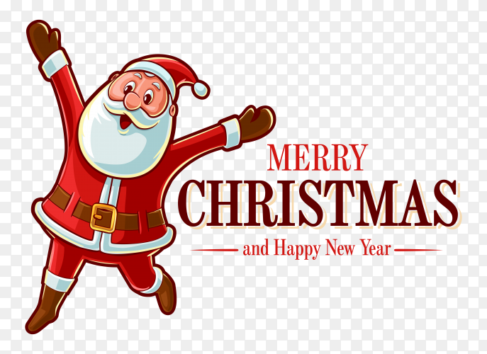 Merry christmas card with santa claus premium vector PNG