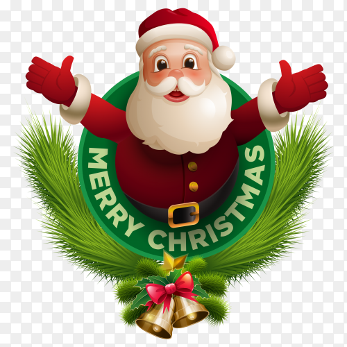 Merry christmas design with santa claus premium vector PNG