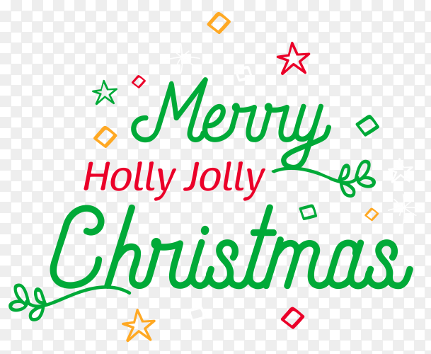 Merry christmas lettering on transparent background PNG