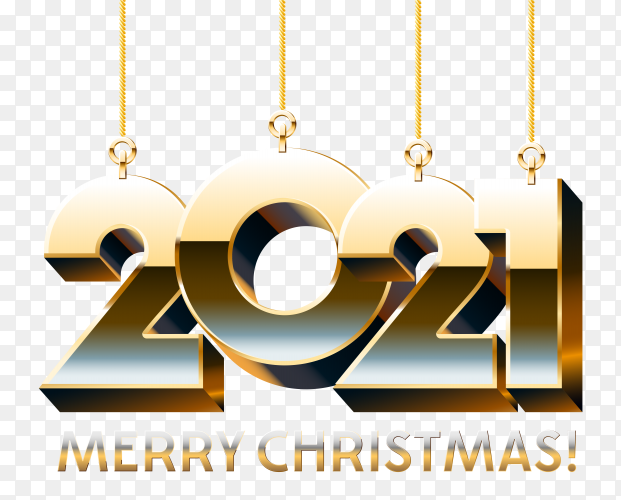 Merry christmas with new 2021 year numbers premium vector PNG