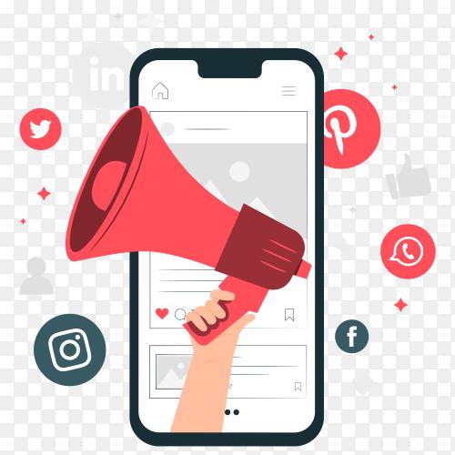 Mobile marketing concept illustration on transparent background PNG